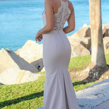 Nude Maxi Dress with Lace Back