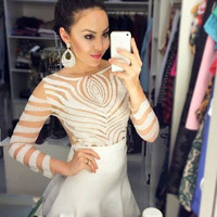 Casual Women Girls Sexy Mesh Cotton T-shirt Long Sleeve Solid Slim Tops Blouse F_F = 1902530948