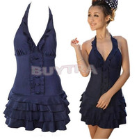 WL Sexy Deep V One Piece Swimsuit Swim Ruffle Swimwear Halter Plus Size Dress = 1958368964