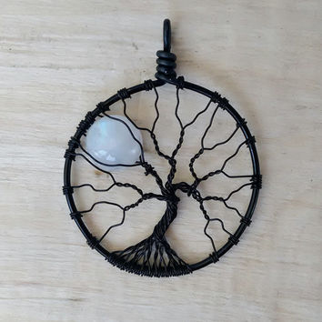 Rainbow Moonstone Full Moon Tree of Life Pendant Black Wire Wrapped Jewelry Moonstone Jewelry Lunar Necklace