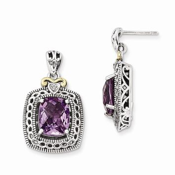 Antique Style Sterling Silver with 14k Yellow Gold Diamond & Amethyst Earrings