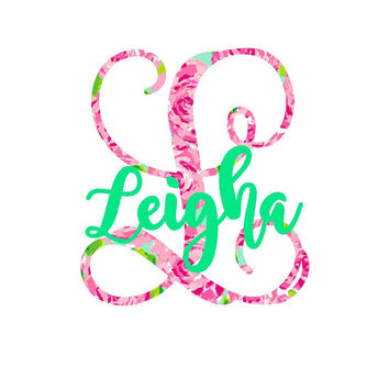 Single Initial Lilly Monogram Decal | Swell Decal |   Pattern Decal | Lilly car decal | Lilly Pulitzer Yeti Sticker |