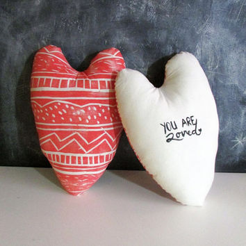 Heart Shaped Pillow with Custom Writing on the Back. Hand Block Printed. Pick any Color.
