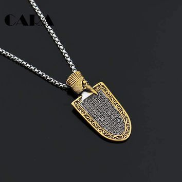 CARA New Vintage Stainless steel Egyptian King shield charm necklace