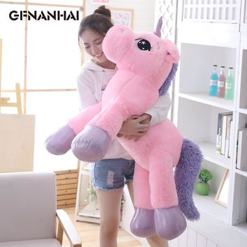 1pc 80/110cm Giant Size Cute Unicorn Plush Toy Lovely Animal Unicorn Pillow Stuffed Soft Toys Home Decor Children Birthday Gift