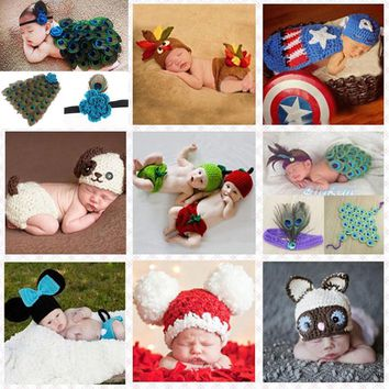 Crochet Pattern Baby Hat with Cover Animal Style Newborn Photography Props Costume Outfit Peacock Mickey Turkey SG044