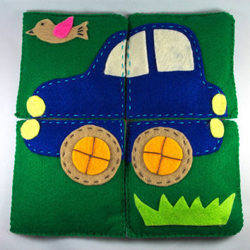 Educational toy - car and plane simple puzzle for small children made of felt - perfect gift