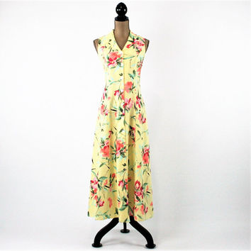 Yellow Floral Dress Women Summer Dress Sleeveless Button Up Dress Linen Maxi Dress Size 8 Coldwater Creek Vintage Clothing Womens Clothing