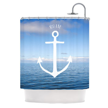 "Ann Barnes ""Roam III"" Anchor Shower Curtain"