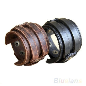 Men's Retro Genuine Leather Buckle Punk Cuff Bangle Wristband Bracelet, wind band, cool, surfer bracelet, tribal style = 1646029508