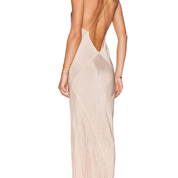TITANIA INGLIS Long Plunge Dress in Peach