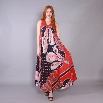 Vintage 70s MAXI DRESS / 1970s Baroque Feathers & Tassels Print Cotton Draped Long Boho Dress