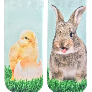 Chick And Bunny Ankle Socks