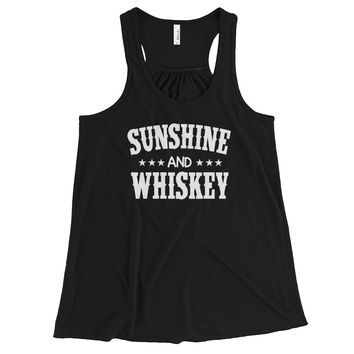 Sunshine & Whiskey -  Women's Flowy, racerback tank top - Various colors available