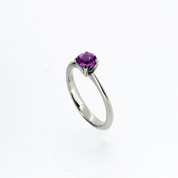 Amethyst solitaire engagement ring, white gold, Amethyst ring, Purple wedding, crown setting, gemstone engagement, solitaire, simple ring