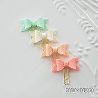 Light Coral & Mint Petite Felt Bow Set on Mini Paper Clips Planner Clips for Your Erin Condren Filofax Kikki K Accessories