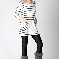 White & Black Striped Tunic with Pocket and Button Detail