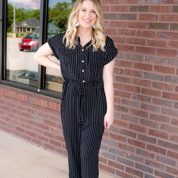 Saw You There Striped Jumpsuit