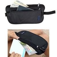 JAVOedge Black Undercover Wrap Around Money Travel Wallet Belt with Bonus Drawstring Storage Bag
