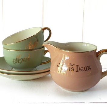 Lovely Vintage set  Toi et Moi ( You and Me ) - 2 cups +  2 saucers +1 Milk Pot - Villeroy & Boch