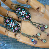 flower filigree earrings  in victorian fantasy boho gypsy hippie beach hipster and fantasy style
