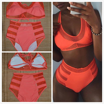 Retro Women High Waist Bikini Set,2017 Orange Color high waisted Swimsuit,Vintage Cut Out Mesh Swimwear Plus Size XL