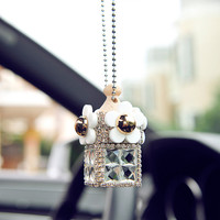 Reusable Handmade Crystal Flower Car Hanger Perfume Bottle ML