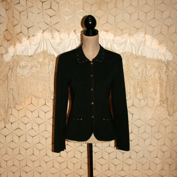 Black Knit Jacket Sweater Jacket Snaps Edgy Studded Western Unique Womens Jackets Fall Clothing Small Medium Womens Clothing