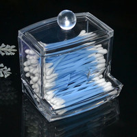 Clear Acrylic Q-tip Holder Box Empty Cotton Swabs Stick Storage Cosmetic Makeup Case (Size: 9cm by 9.5cm by 8cm) (Size: 2) [8295305927]