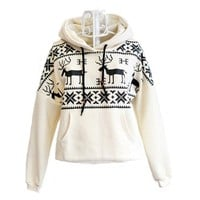Beige Deer Hooded Sweatershirt For Women