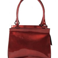 Red iridescent patent leather bag with double handles by Lagon Rouge