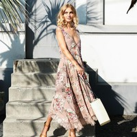 Camille Floral & Lace Midi Dress