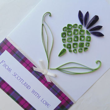 Quilled thistle Scotland card, quilled cards, Scotland cards, Scottish cards, quilling cards, thistle cards,