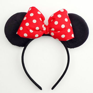 Minnie Mouse Ears Red Mickey Ears Halloween Costume Mouse Ears Minnie Ears Headband Mickey Ears Red Minnie Mouse Outfit Minnie Mouse Bow