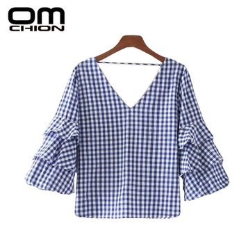 New Summer Tops Deep V Neck Petal Sleeve Women Vintage Plaid Cotton Blouse Casual Loose Backless Shirt