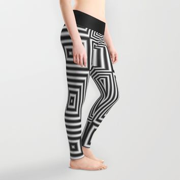 Flickering geometric optical illusion Leggings by Natalia Bykova