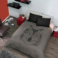 Wolf Designer Bedding Collections -Reversible Comforter, Sheet Set and Window Panels (Twin)