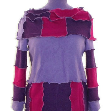 Purple Tunic Sweater Made With Recycled 100% Cashmere Sweaters