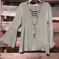 Washed Criss Cross Long Sleeve Top