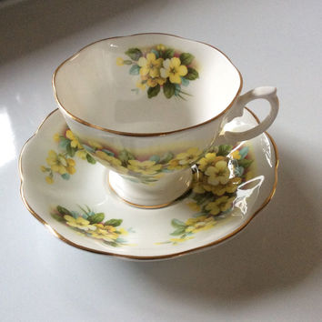 Royal Albert Yellow Flower Bone China Teacup and Saucer. Made in England. Vintage!