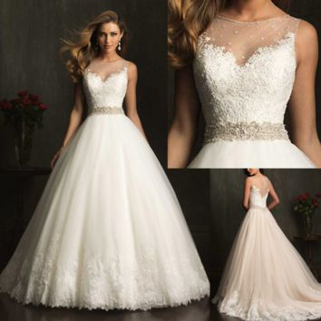 New fashion Bride A Style Lace Sexy White Wedding Dress