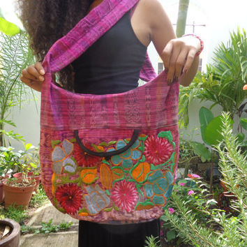 Cotton Sling Hobo Crossbody Bag Embroidered Pink Black Stripes Hippie Bag Womens Purse Large Gypsy Purse Handcrafted Boho Mexican Bag