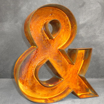 "12"" Inch Rusted Ampersand Symbol Letter"