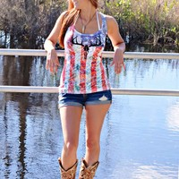All American girl american flag clothing tank top shirt with deer skull sporty girl apparel best seller