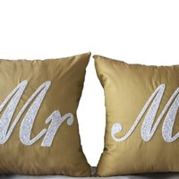 Amore Beaute Handmade Customizable Mr Mrs Pillows Covers -Decorative Pillows Covers -Beige White Throw Pillow Covers - -Gold White Cushion Covers -Groom Bride Gift-anniversary Pillow Covers