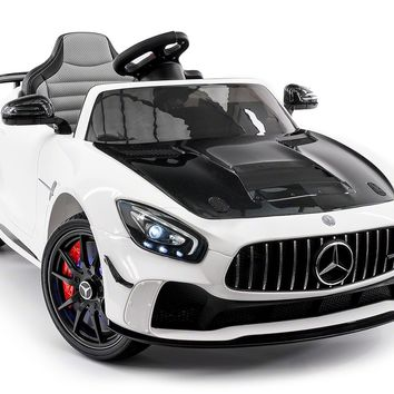 Mercedes GT AMG 12V Kids Ride-On Car with Parental Remote | White