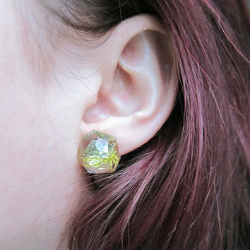 Geometric Earrings • Moss Resin Earrings • Glitter Eco Resin Minimal Earrings • Resin Post Earrings • Geometric Stud Earrings