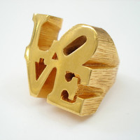 Vintage Robert Indiana Iconic Love Ring Heavy GoldPlated by Objeks