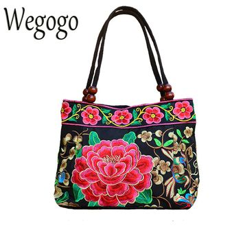 Vintage Women Bag Retro Handbag National Ethnic Canvas Totes Wood Beads Double Layered Travel Shoulder Bag Sac Femme Bolsos