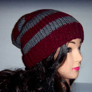 Mens Knit Hat slouchy beanie Burgundy and Gray, Mens accessories hat, striped mans hat